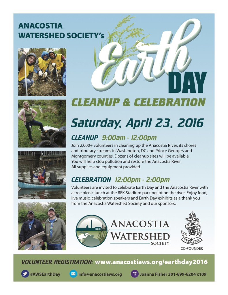 Earth Day Anacostia River Cleanup Flyer 2016